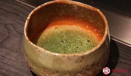 神户三宫A5和牛推荐「神戸牛ステーキ桜」的热抹茶