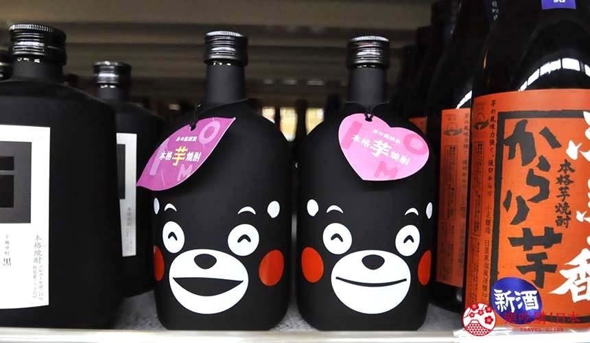 日本关西自由行必逛京都「高木批发超市」的日本酒区的「くまモン」的造型烧酌