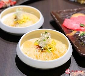 大阪難波高級和牛燒肉推薦「牛の蔵」的富士山套餐的燒肉冷麵