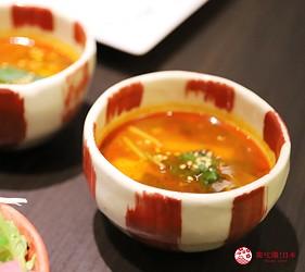 大阪難波高級和牛燒肉推薦「牛の蔵」的富士山套餐的辣牛肉湯