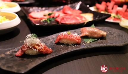 大阪難波高級和牛燒肉推薦「牛の蔵」的富士山套餐的「烤肉壽司三種」