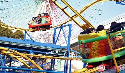 大阪推薦親子遊樂園「枚方公園」的遊樂設施「急轉過山車 瘋狂老鼠」(ヘアピンコースター クレージーマウス)