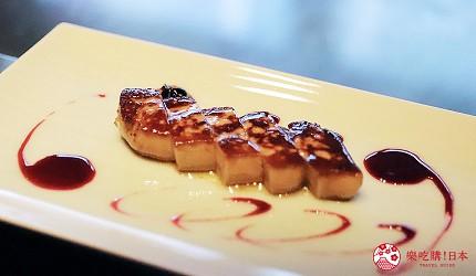 神戶米其林一星鐵板燒餐廳「雪月花 離れ」主廚推薦套餐的鐵板前菜匈牙利鵝肝