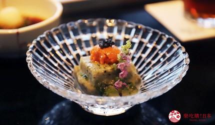 神戶米其林一星鐵板燒餐廳「雪月花 離れ」主廚推薦套餐的開胃前菜