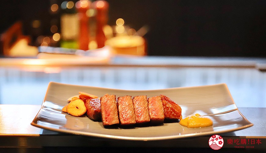 神戶米其林一星鐵板燒餐廳「雪月花 離れ」主廚推薦套餐的美味主菜沙朗牛排