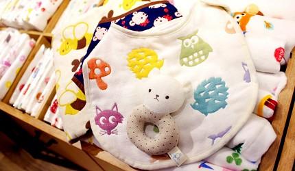大阪難波購物商場推薦「難波SkyO」的店家頂級毛巾專賣店「HIORIE 日織惠」的小寶寶口水巾、沐浴毛巾