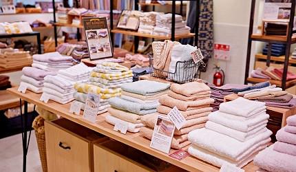 大阪難波購物商場推薦「難波SkyO」的店家頂級毛巾專賣店「HIORIE 日織惠」的店內環境與毛巾