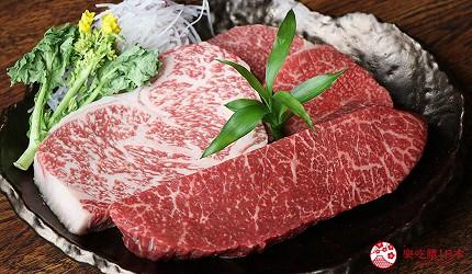 神戶三宮和牛推薦「寅松の肉たらし」的牛排烤之前的色澤