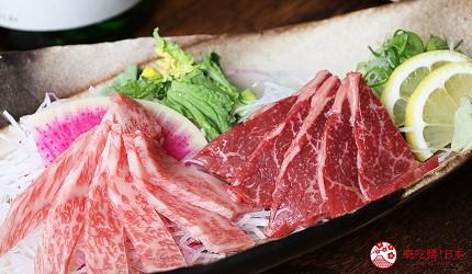 神戶三宮和牛推薦「寅松の肉たらし」的「生牛肉刺身」