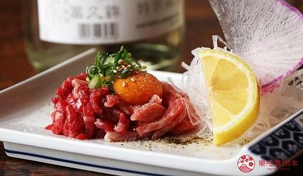 神戶三宮和牛推薦「寅松の肉たらし」的「生牛肉拌雞蛋」