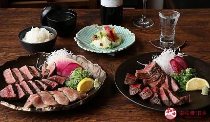 神戶三宮和牛推薦「寅松の肉たらし」的兩種套餐「神戶牛三種部位」(神戸牛3種食べ比べ)與「神戶牛黑毛和牛套餐」(神戸牛、黒毛和牛食べ比べ)