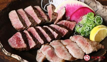 神戶三宮和牛推薦「寅松の肉たらし」的牛排可以一次吃到一種赤身肉和兩種霜降肉