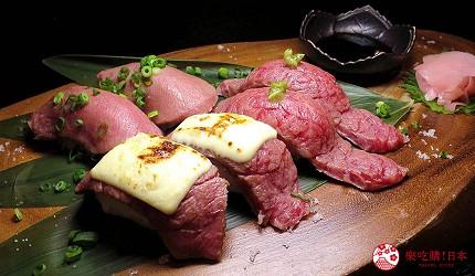 大阪在地人美食推薦「旨太郎」的290日圓黑毛和牛肉壽司