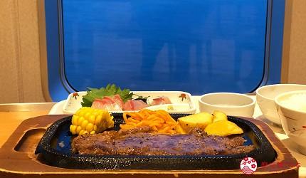 阪九邮轮船上餐厅美食铁板牛排