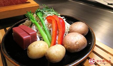 神戶和牛推薦名店「神戶牛排 Ishida.」的「特選 A5 神戶牛套餐」的烤當季蔬菜