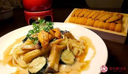 大阪天神橋筋商圈必吃推薦「串炸酒場」的濃厚海膽醬佐串炸拼盤的義大利麵