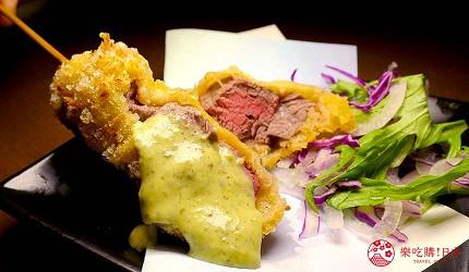 大阪天神橋筋商圈必吃推薦「串炸酒場」的夏多布里昂牛排有四種調味醬