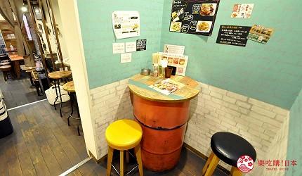 大阪天神橋筋商圈必吃推薦「串炸酒場」的高腳椅