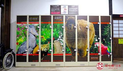 日本關西神戶必去推薦景點「神戶動物王國」的置物櫃各種大小都有
