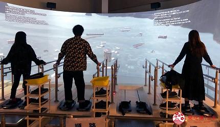 神戶親子寓教於樂景點推薦「人與防災未來中心」(人と防災未来センター)的東館「海嘯避難體驗」體驗水壓中行走