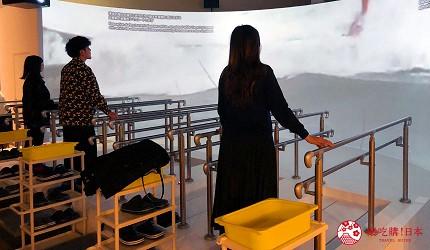 神戶親子寓教於樂景點推薦「人與防災未來中心」(人と防災未来センター)的東館「海嘯避難體驗」示意圖