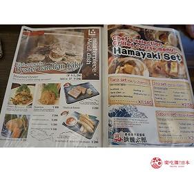 奈良用餐推荐近铁奈良站1分钟「NALALA 美食天地」的店家「滨烧太郎 近铁奈良店」的英文菜单