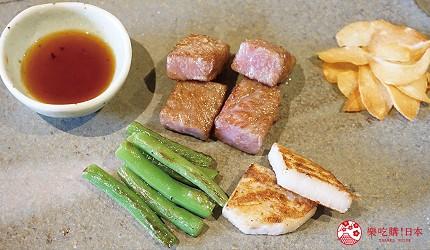 奈良用餐推荐近铁奈良站1分钟「NARARA 美食天地」的店家「和牛铁板烧关」的和牛与奈良在地蔬菜