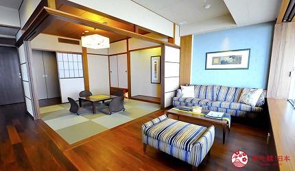 城崎日和山溫泉旅館「金波樓」的「渚之館時じく」的豪華和洋室