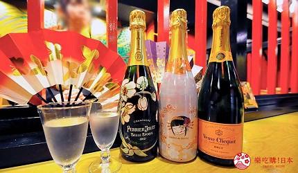 大阪心斋桥花魁酒吧「OIRAN de ENJOU 炎城」的套餐香槟