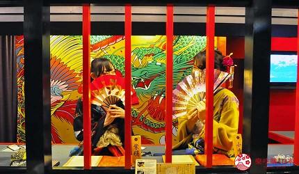 大阪心斋桥花魁酒吧「OIRAN de ENJOU 炎城」店内环境与艺伎店员照