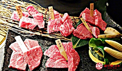 大阪心齋橋頂級和牛燒肉「黑毛和牛燒肉一」的推薦神戶牛拼盤包含稀少部位