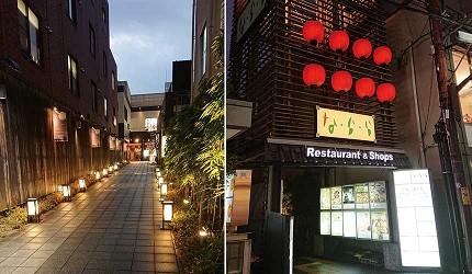 奈良用餐推荐近铁奈良站1分钟「NALALA 美食天地」入口进入后小路,夜晚大红提灯发光