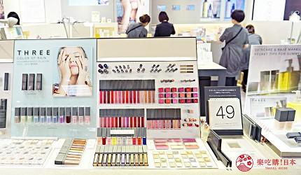 便利的購物聖地大阪難波高島屋內的天然有機護膚品牌THREE