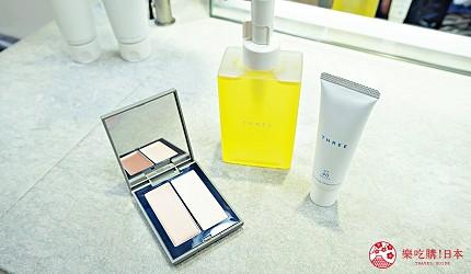 大阪難波高島屋內的天然有機護膚品牌THREE的THREE平衡潔膚油、平衡UV防曬乳、THREE立體光影盒