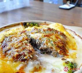 关西自由行「淡路岛」环岛一日游行程推荐景点「淡路梦舞台」的餐厅提供的焗烤汉堡排
