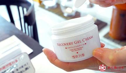 京都美人的秘密美妝保養品「京乃雪」的明星商品修復乳(リカバリィジェルクリーム)外罐包裝