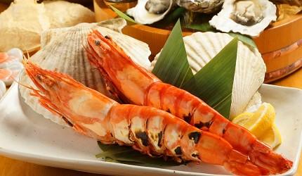大阪难波海鲜大餐店家推荐「知床渔场 道顿堀店」的2号套餐的鲜虾吃到饱