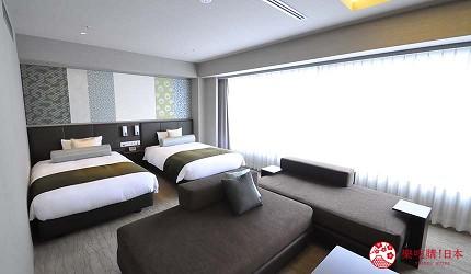 京都旅遊市區住宿推薦「京都 Ublhotel」的小型雙床套房(Semi suite room)