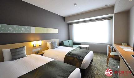 京都旅遊市區住宿推薦「京都 Ublhotel」的大雙床間(Deluxe twin room)
