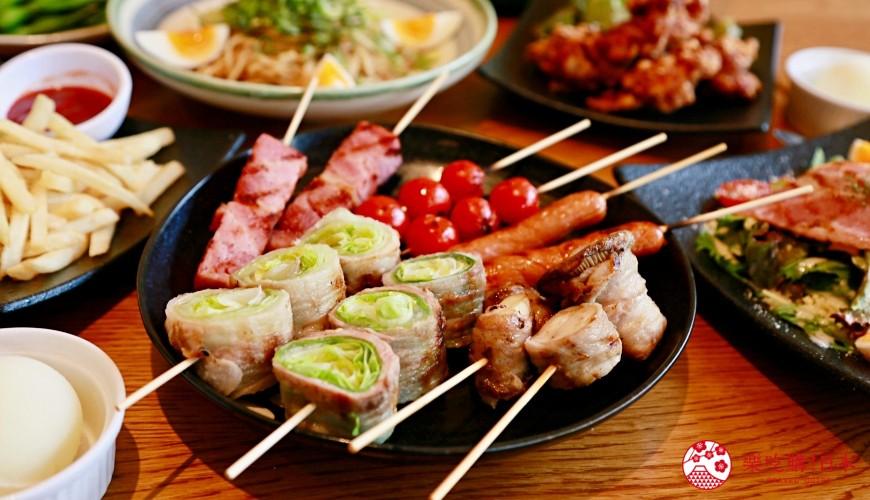 京都乌丸串烧居酒屋「丸庄商店」:蔬菜猪肉卷套餐2,000日元起,柔嫩多汁好推荐