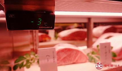 大阪心斋桥和牛铁板烧店「鸟取和牛 大山不二家」的冰柜温度标示