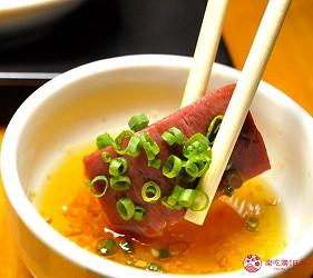 大阪梅田必吃推薦和牛「牛肉專門 豐後牛肉店」的「大分豐後和牛套餐」的和牛心臟佐胡麻油