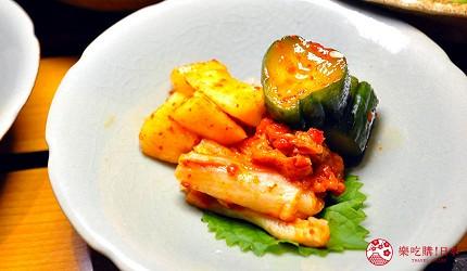 大阪梅田必吃推薦和牛「牛肉專門 豐後牛肉店」的「大分豐後和牛套餐」的綜合泡菜