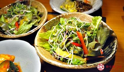 大阪梅田必吃推薦和牛「牛肉專門 豐後牛肉店」的「大分豐後和牛套餐」的綠色沙拉