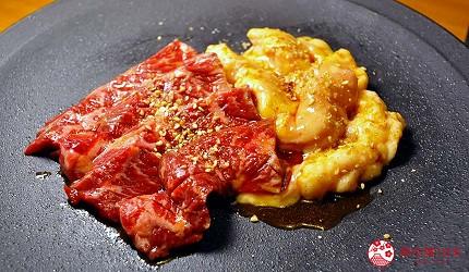 大阪梅田必吃推薦和牛「牛肉專門 豐後牛肉店」的「大分豐後和牛套餐」的內臟拼盤(ホルモン盛り)