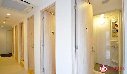 日本大阪的平價住宿酒店推介推薦THE STAY OSAKA 心齋橋的上下舖宿舍房型使用的公共衛浴間
