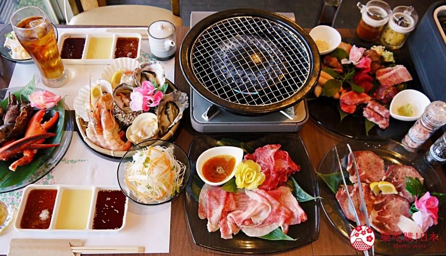 大阪难波牛海鲜吃到饱推荐「牛一筋」的「和牛国产牛生勐海鲜吃到饱」90分钟方案全套餐内容
