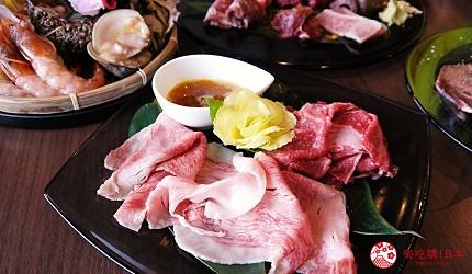 大阪难波牛海鲜吃到饱推荐「牛一筋」的「和牛国产牛生勐海鲜吃到饱」90分钟方案的「烧涮涮」的牛肉薄片