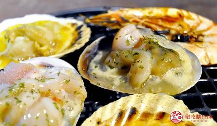 京都河原町和牛燒肉推薦「燒肉どうらく 京都六角通り店」的限定海陸雙饗宴「特選神戶牛與北海海鮮套餐」的烤扇貝