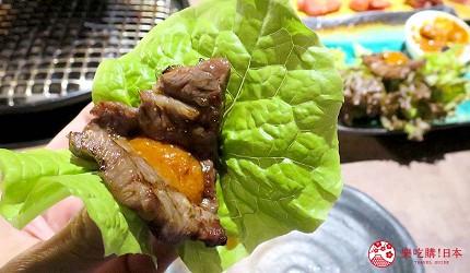 京都河原町和牛燒肉推薦「焼肉どうらく 京都六角通り店」的限定海陸雙饗宴「特選神戶牛與北海海鮮套餐」的生菜夾燒肉